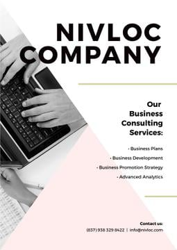 Business Services Ad Worker Typing on Laptop | Poster Template