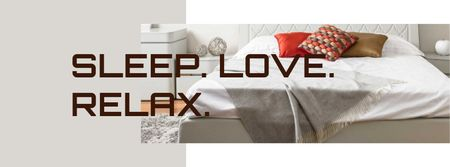Modèle de visuel Bedding Offer with Cozy Modern Bedroom - Facebook cover
