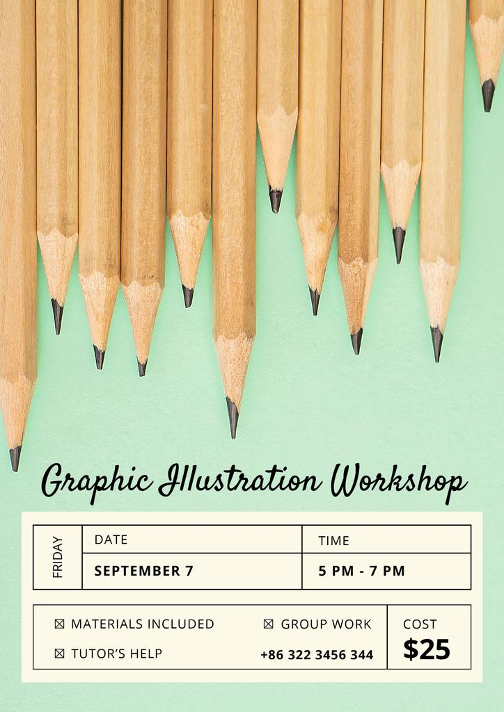 Illustration Workshop with Graphite Pencils on Blue — Создать дизайн