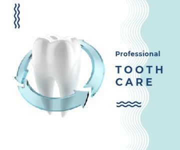 Dentist Services Ad White Clean Tooth | Large Rectangle Template