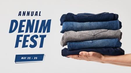Fashion Sale Blue Jeans Pile FB event cover – шаблон для дизайна
