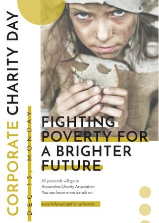 Template di design Poverty quote with child on Corporate Charity Day Invitation
