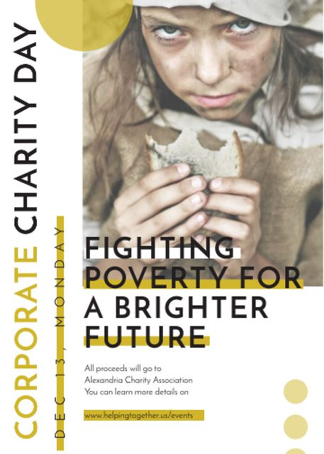 Poverty quote with child on Corporate Charity Day Invitation – шаблон для дизайна