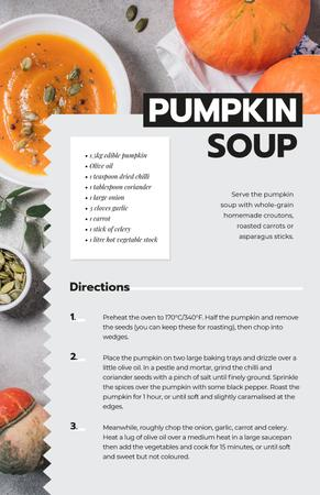 Pumpkin Soup Dish Recipe Card Modelo de Design