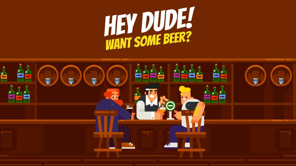 Pub Invitation Men with Drinks at the Bar Counter — Створити дизайн