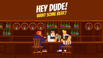Pub Invitation Men with Drinks at the Bar Counter | Full Hd Video Template