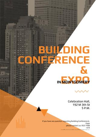 Building Conference Announcement with Modern Skyscrapers Poster Modelo de Design