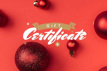 Christmas Gift Offer Shiny Red Baubles | Gift Certificate Template