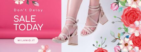 Fashion Sale with pretty female legs and Flowers Facebook coverデザインテンプレート
