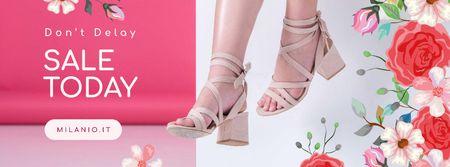 Plantilla de diseño de Fashion Sale with pretty female legs and Flowers Facebook cover