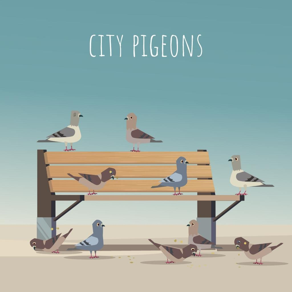 Pigeons pecking grain on a bench — Crear un diseño
