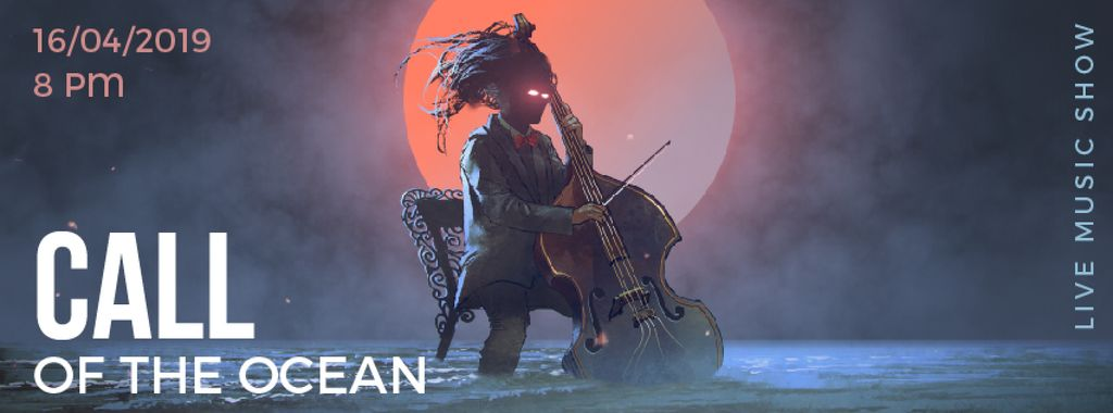 Musician with glowing eyes playing cello  — Створити дизайн