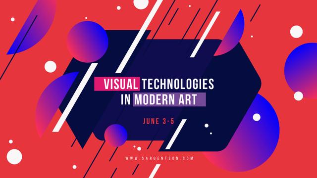 Modèle de visuel Art Event announcement Moving Lines and Circles - FB event cover