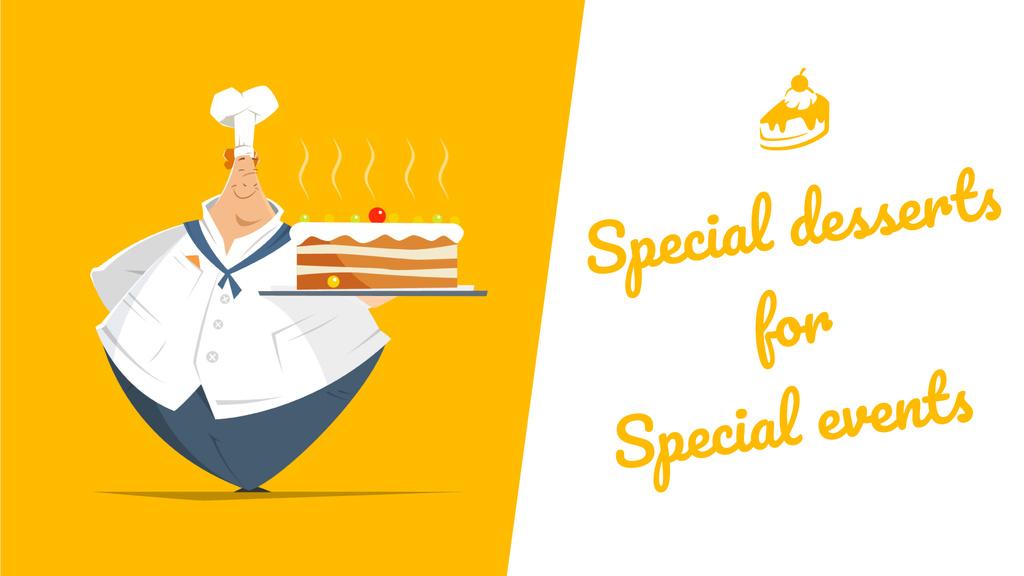 Bakery Dessert Chef Holding Sweet Cake in Yellow — Maak een ontwerp