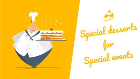 Template di design Bakery Dessert Chef Holding Sweet Cake in Yellow Full HD video