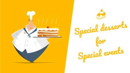 Designvorlage Bakery Dessert Chef Holding Sweet Cake in Yellow für Full HD video