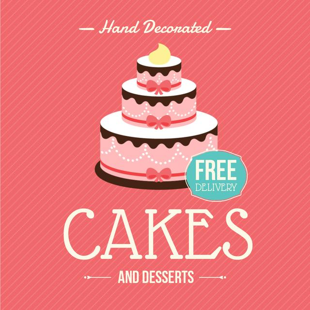 Cakes Offer with Layered pink cake Animated Post Tasarım Şablonu