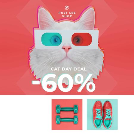Plantilla de diseño de Funny Cat in 3D Glasses and Sports Equipment on Cat Day Animated Post