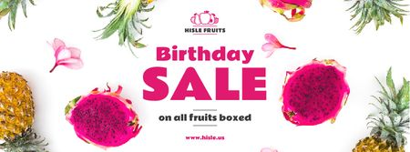 Birthday Sale Exotic Fruits on White Facebook cover – шаблон для дизайна
