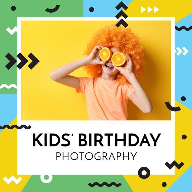 Kid holding oranges for Birthday Photography Instagram AD Tasarım Şablonu