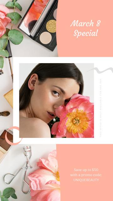 Plantilla de diseño de Makeup Gift Girl Holding Flower Instagram Video Story
