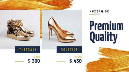 Plantilla de diseño de Shoes Shop Offer Golden Pairs Title