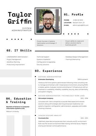 Szablon projektu Computer Science skills and experience Resume