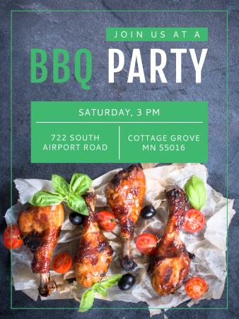 Szablon projektu BBQ Party Invitation Grilled Chicken Poster US