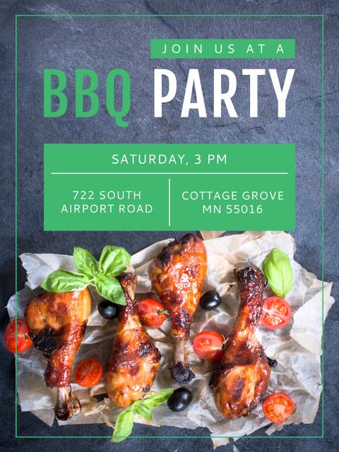 Plantilla de diseño de BBQ Party Invitation Grilled Chicken Poster US