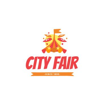 City Fair Circus Tent in Red | Logo Template