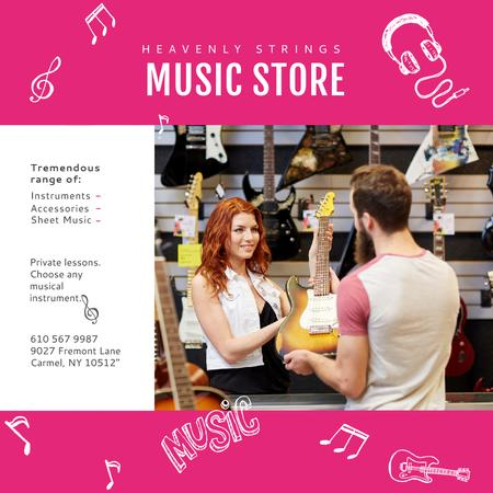 Ontwerpsjabloon van Instagram van Man buying Guitar in Music Store