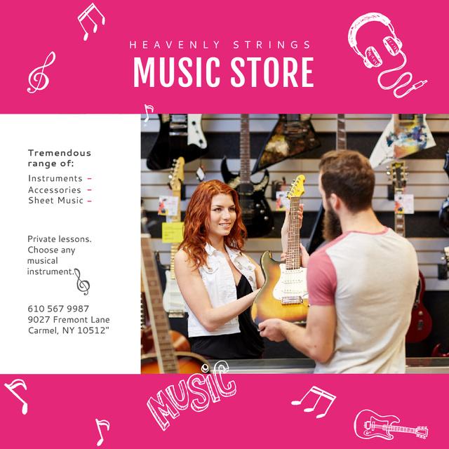 Man buying Guitar in Music Store Instagramデザインテンプレート