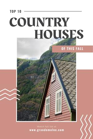 Plantilla de diseño de Real Estate Ad with Beautiful House in Country Landscape Pinterest