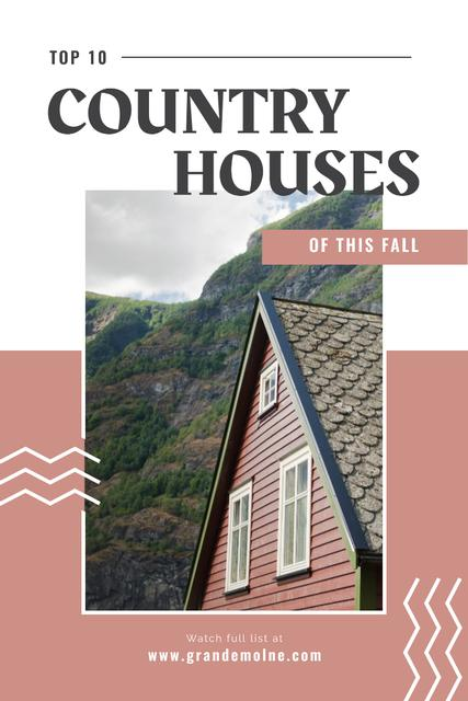 Real Estate Ad with Beautiful House in Country Landscape Pinterest Design Template
