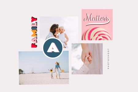 Happy Mother with her Child at the beach Mood Board Design Template