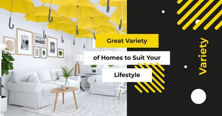 Cozy interior in light colors Facebook AD – шаблон для дизайна