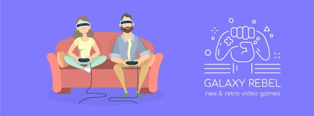 Friends playing vr game Facebook Video cover Modelo de Design