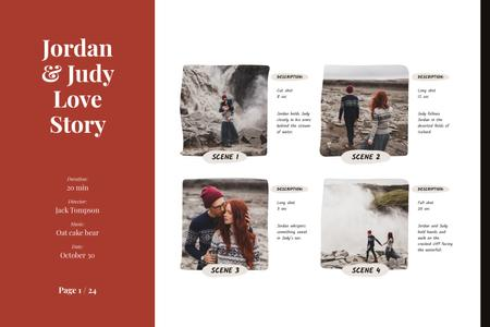 Love Story of Romantic Couple at Waterfall Storyboard Modelo de Design