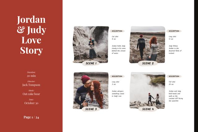 Love Story of Romantic Couple at Waterfall Storyboard Design Template