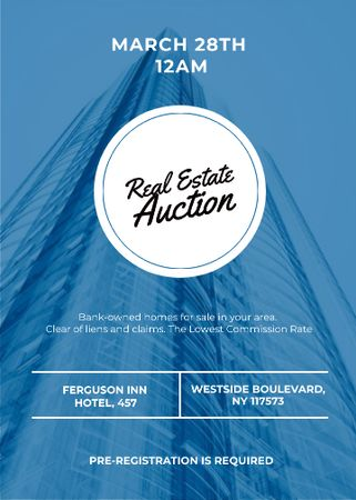 Blue Skyscraper for Real estate auction Flayer Modelo de Design