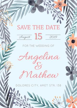 Save the Date Flowers Frame in Blue Flayer Design Template