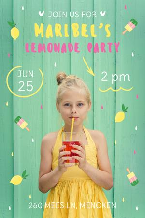 Kids Party Invitation with Girl Drinking Lemonade Pinterest Modelo de Design