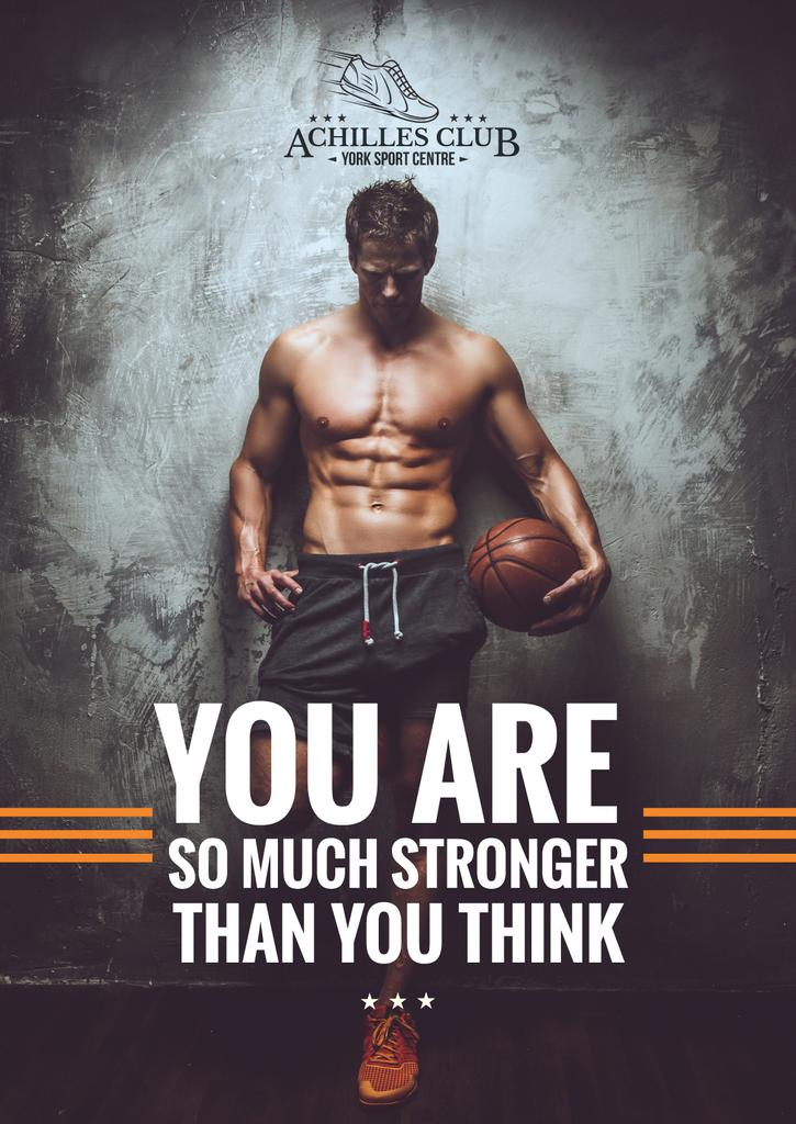 Sports Poster with Muscular Basketball Player — Create a Design