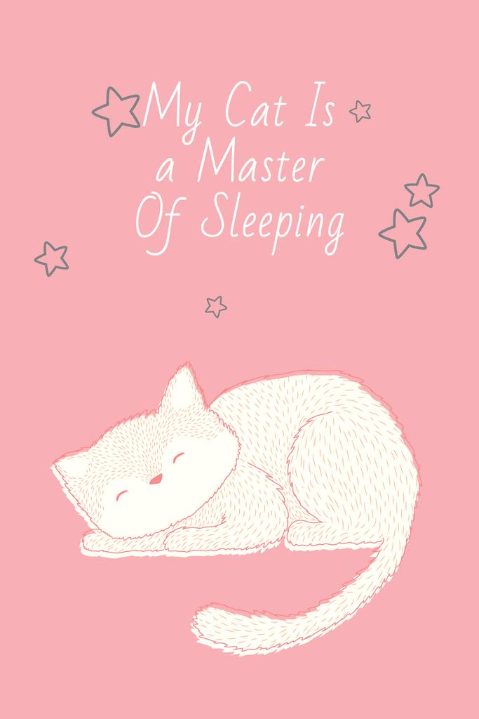 Cute Cat Sleeping in Pink | Pinterest Template — Crea un design