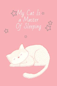 Cute Cat Sleeping in Pink | Pinterest Template