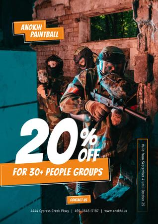 Paintball Club Offer People with Guns Poster – шаблон для дизайна