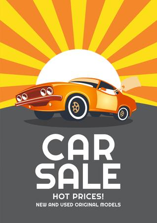Modèle de visuel Car Sale Advertisement with Car in orange - Poster