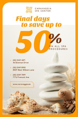 Template di design Spa Center Ad with Zen Stones and Shells Pinterest