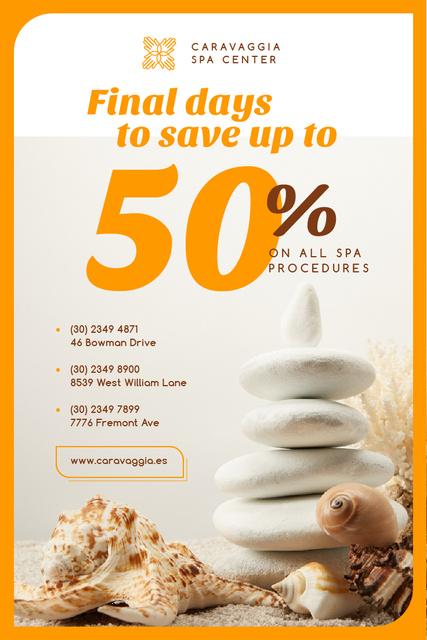 Ontwerpsjabloon van Pinterest van Spa Center Ad with Zen Stones and Shells