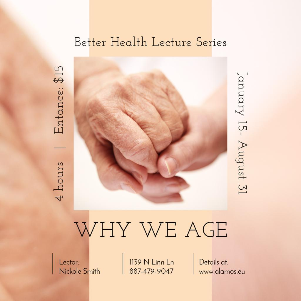 Healthcare Event Ad Holding Hand of Elder Patient — ein Design erstellen